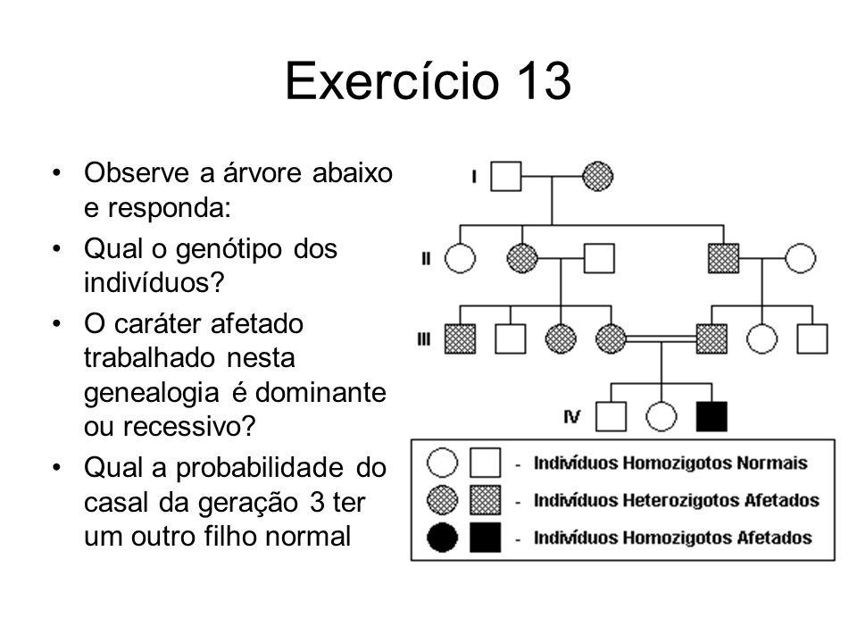 Exercício 13 Observe a árvore abaixo e responda: