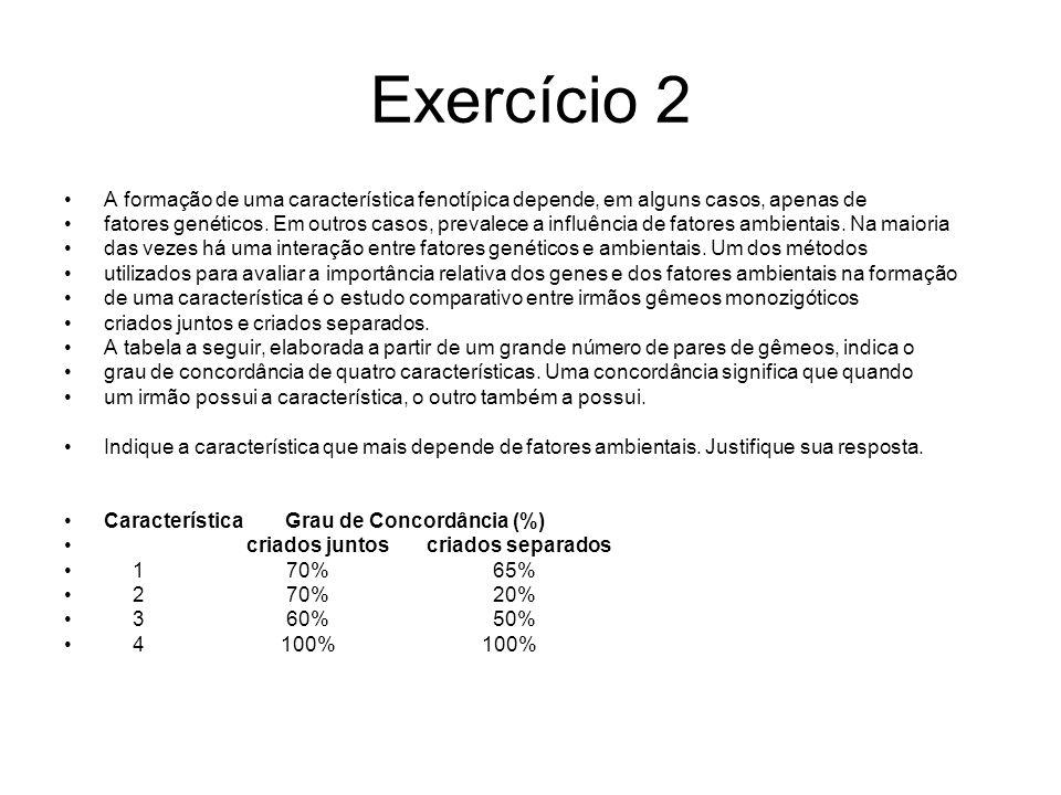 Exercício 2 A formação de uma característica fenotípica depende, em alguns casos, apenas de.