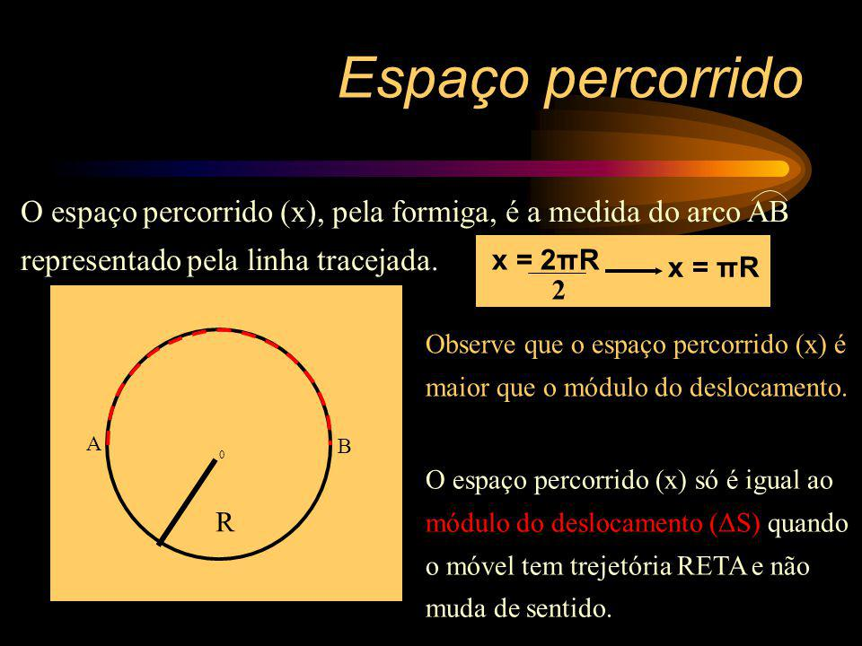 Espaço percorrido O espaço percorrido (x), pela formiga, é a medida do arco AB representado pela linha tracejada.