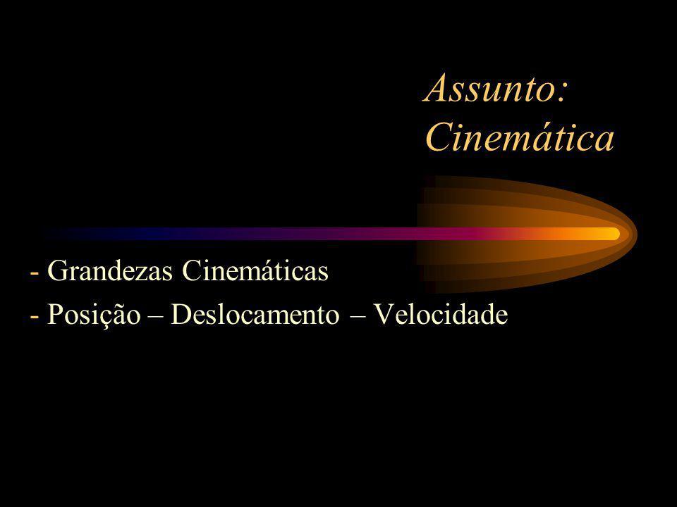 - Grandezas Cinemáticas Posição – Deslocamento – Velocidade