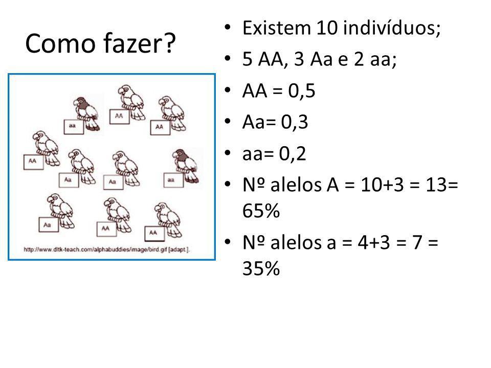 Como fazer Existem 10 indivíduos; 5 AA, 3 Aa e 2 aa; AA = 0,5 Aa= 0,3