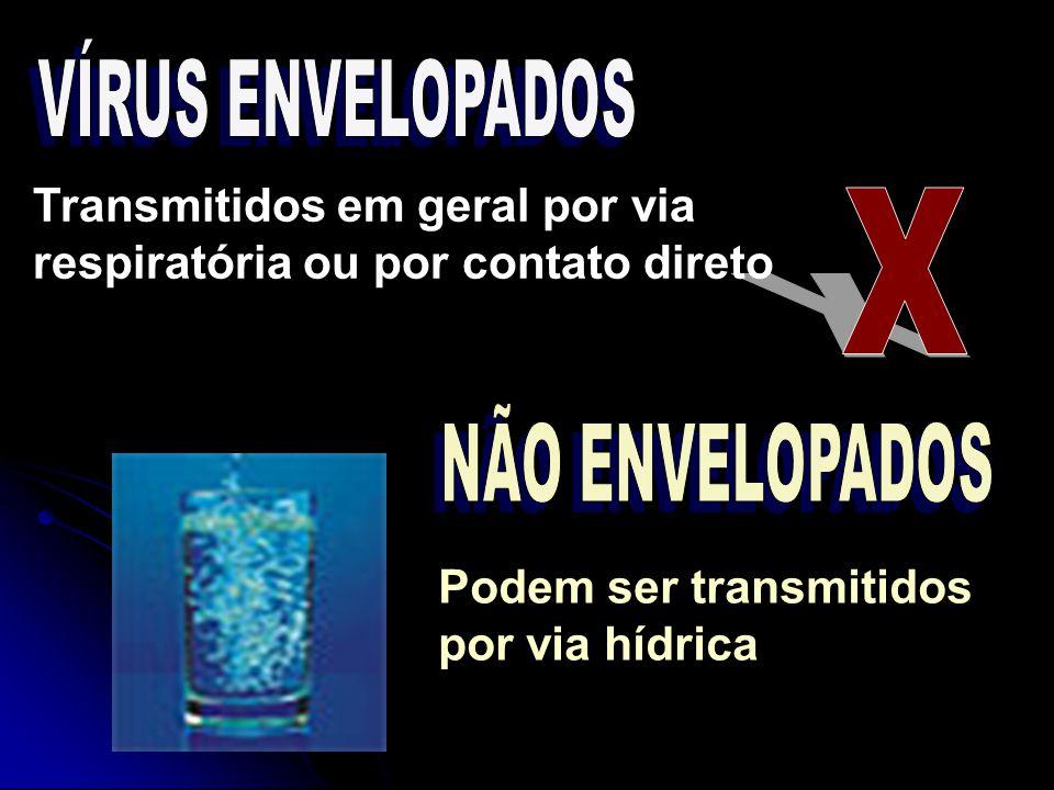VÍRUS ENVELOPADOS Transmitidos em geral por via respiratória ou por contato direto. X. NÃO ENVELOPADOS.