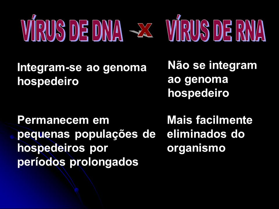 X VÍRUS DE DNA VÍRUS DE RNA Não se integram ao genoma hospedeiro