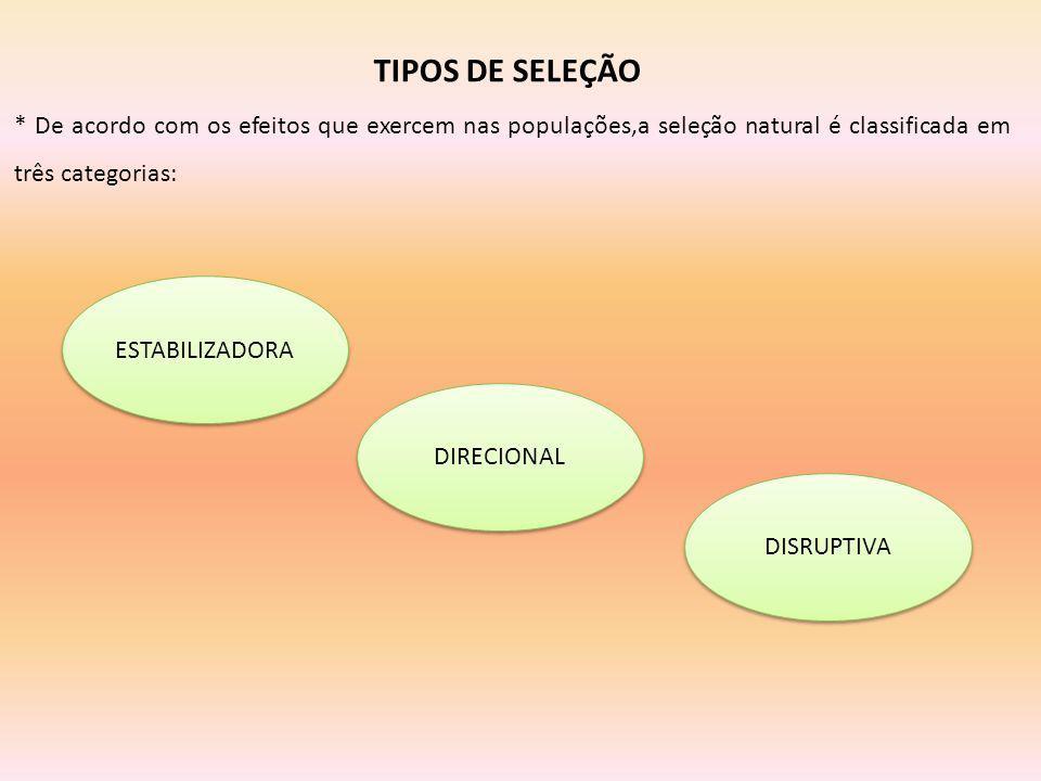 TIPOS DE SELEÇÃO * De acordo com os efeitos que exercem nas populações,a seleção natural é classificada em três categorias: