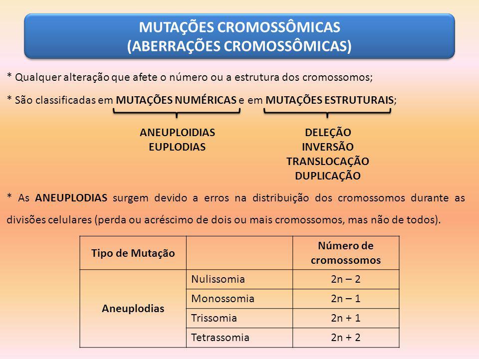 MUTAÇÕES CROMOSSÔMICAS (ABERRAÇÕES CROMOSSÔMICAS)