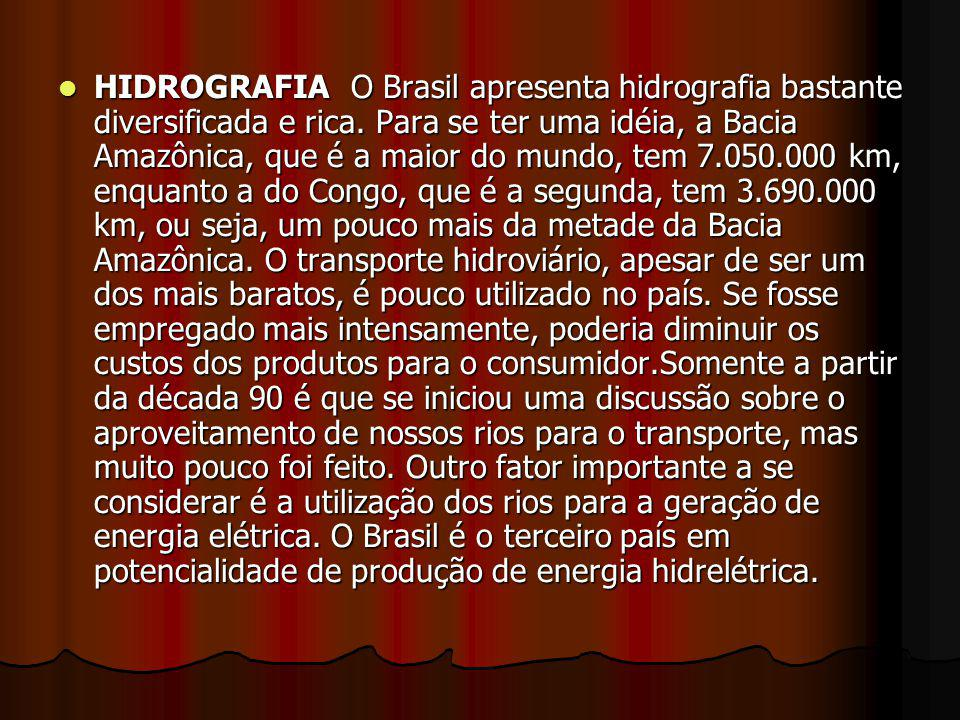 HIDROGRAFIA O Brasil apresenta hidrografia bastante diversificada e rica.