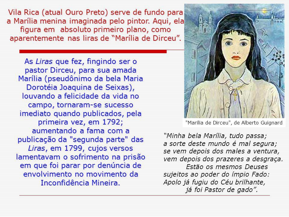Vila Rica (atual Ouro Preto) serve de fundo para a Marília menina imaginada pelo pintor. Aqui, ela figura em absoluto primeiro plano, como aparentemente nas liras de Marília de Dirceu .