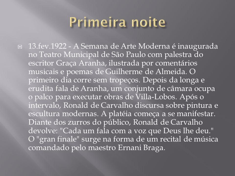 13.fev.1922 - A Semana de Arte Moderna é inaugurada no Teatro Municipal de São Paulo com palestra do escritor Graça Aranha, ilustrada por comentários musicais e poemas de Guilherme de Almeida.
