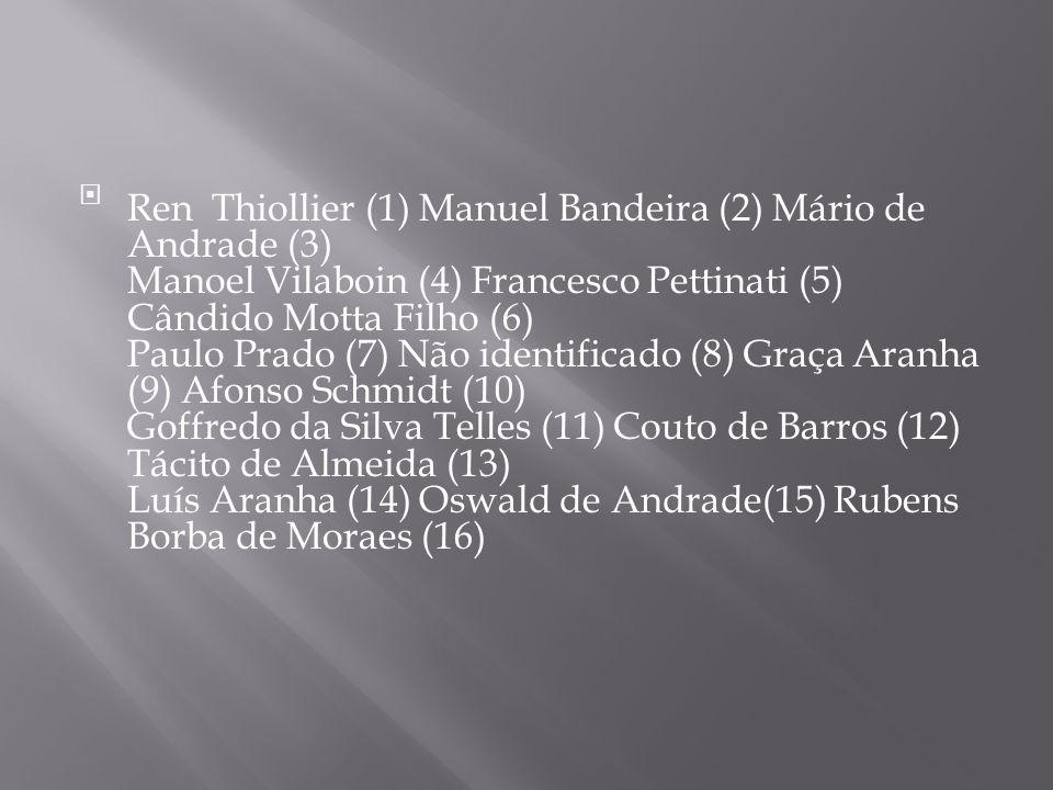 Ren Thiollier (1) Manuel Bandeira (2) Mário de Andrade (3) Manoel Vilaboin (4) Francesco Pettinati (5) Cândido Motta Filho (6) Paulo Prado (7) Não identificado (8) Graça Aranha (9) Afonso Schmidt (10) Goffredo da Silva Telles (11) Couto de Barros (12) Tácito de Almeida (13) Luís Aranha (14) Oswald de Andrade(15) Rubens Borba de Moraes (16)