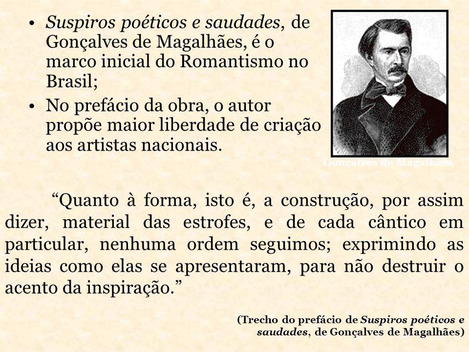 Suspiros poéticos e saudades, de Gonçalves de Magalhães, é o marco inicial do Romantismo no Brasil;