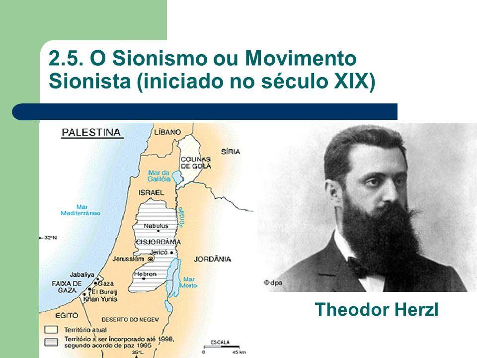 2.5. O Sionismo ou Movimento Sionista (iniciado no século XIX)