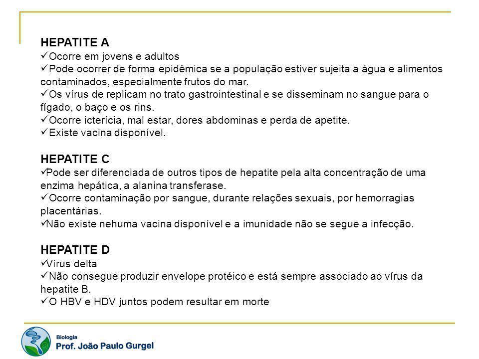 HEPATITE A HEPATITE C HEPATITE D Ocorre em jovens e adultos