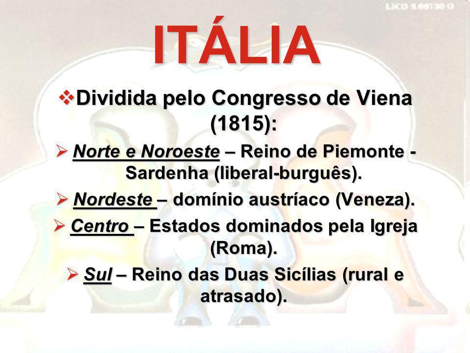 ITÁLIA Dividida pelo Congresso de Viena (1815):