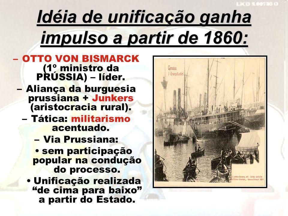 Idéia de unificação ganha impulso a partir de 1860: