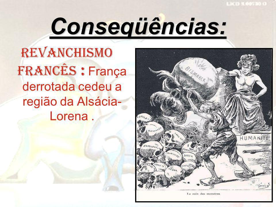 Conseqüências: Revanchismo francês : França derrotada cedeu a região da Alsácia-Lorena .