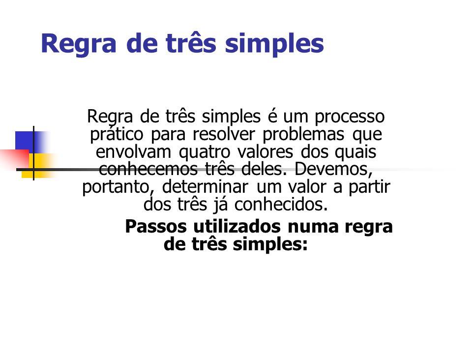 Passos utilizados numa regra de três simples: