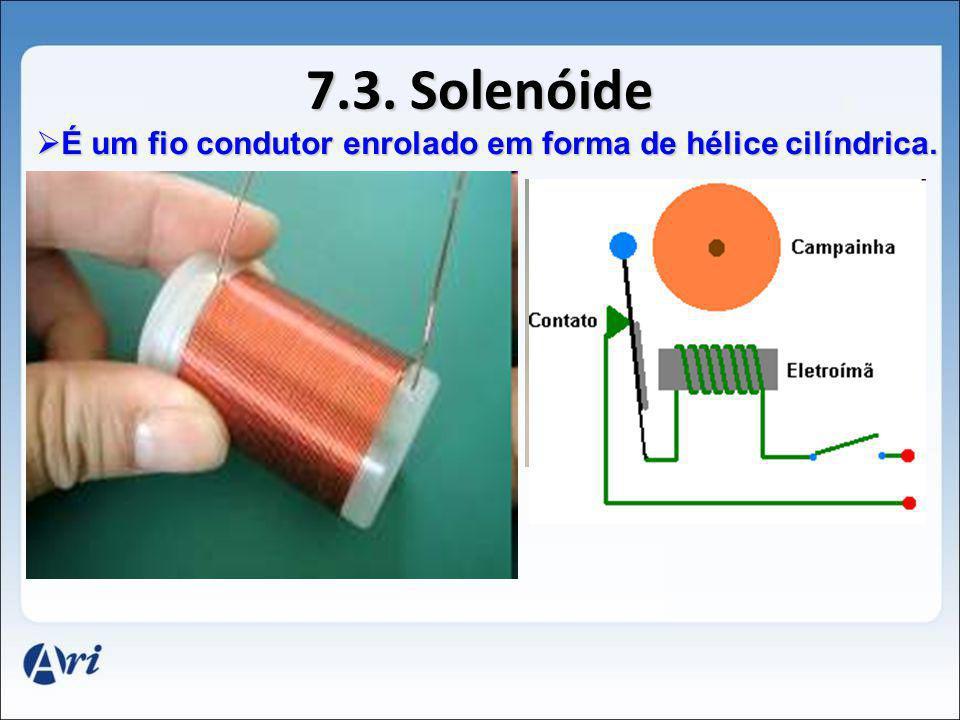 7.3. Solenóide É um fio condutor enrolado em forma de hélice cilíndrica.