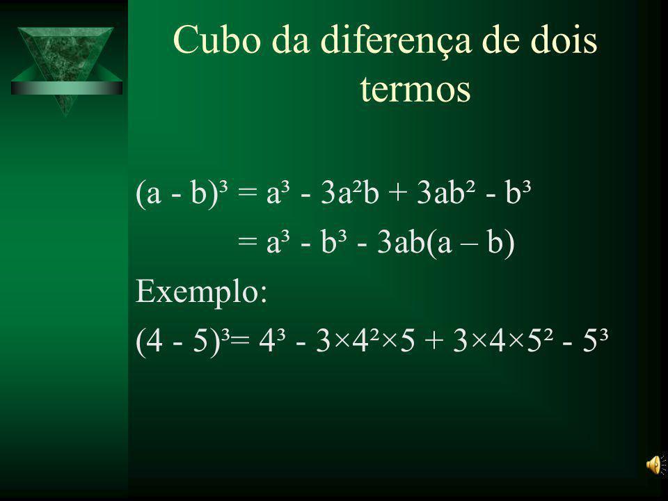 Cubo da diferença de dois termos