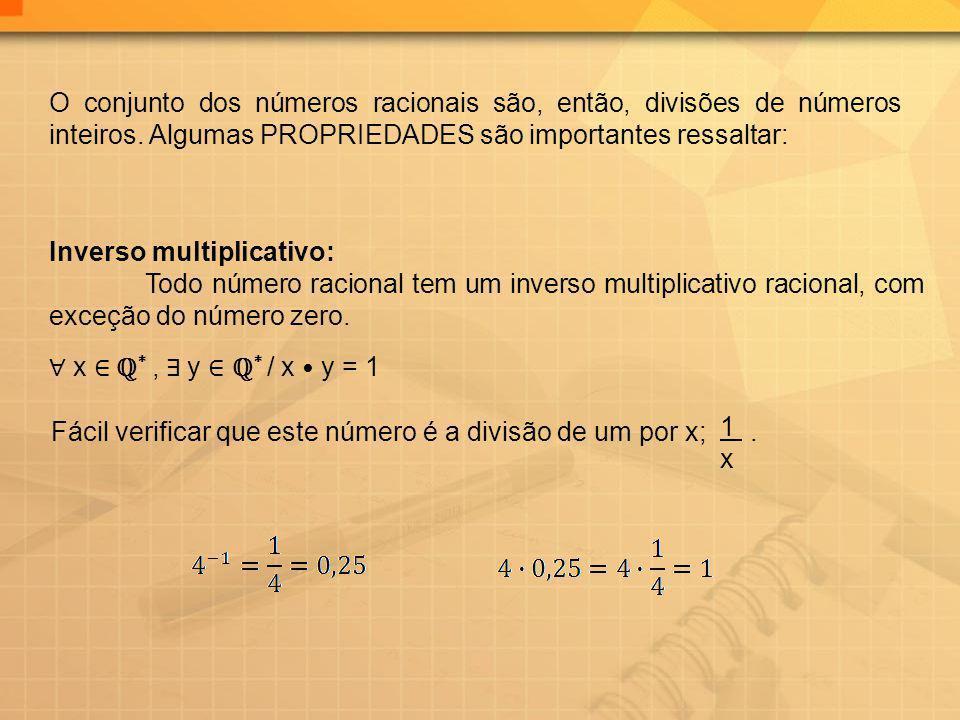O conjunto dos números racionais são, então, divisões de números inteiros. Algumas PROPRIEDADES são importantes ressaltar: