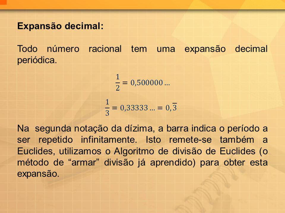 Expansão decimal: Todo número racional tem uma expansão decimal periódica.