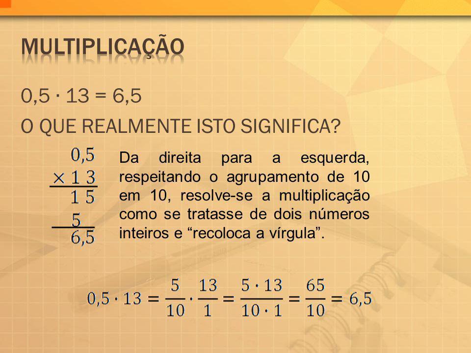 MULTIPLICAÇÃO 0,5 ∙ 13 = 6,5 O QUE REALMENTE ISTO SIGNIFICA