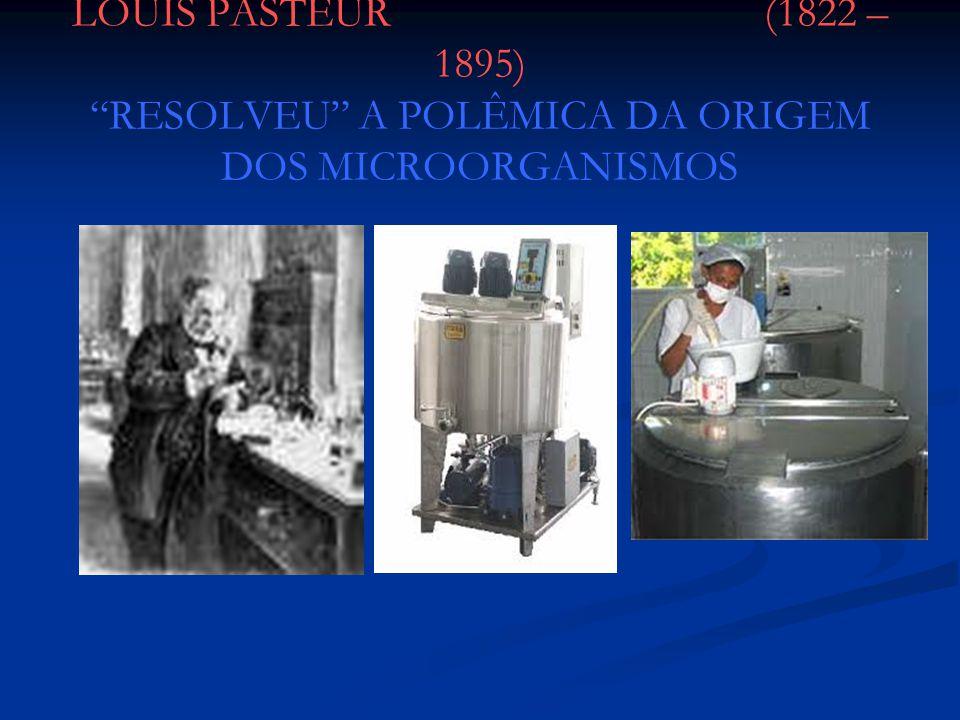 LOUIS PASTEUR (1822 – 1895) RESOLVEU A POLÊMICA DA ORIGEM DOS MICROORGANISMOS
