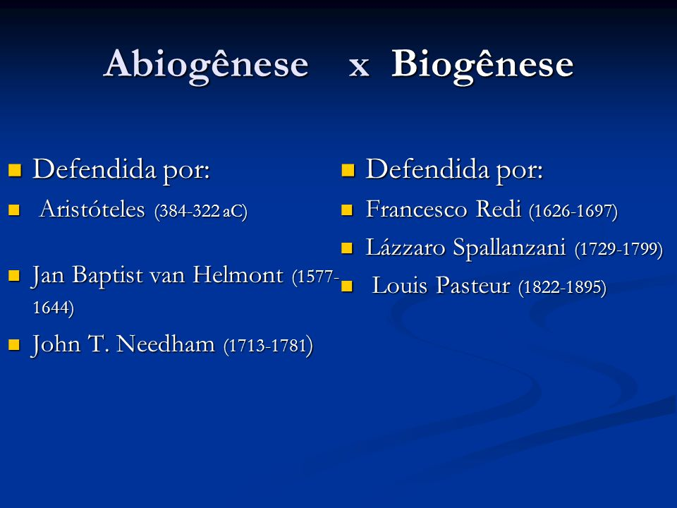 Abiogênese x Biogênese