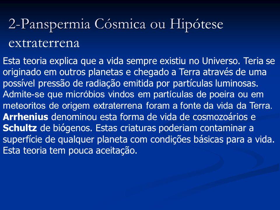 2-Panspermia Cósmica ou Hipótese extraterrena