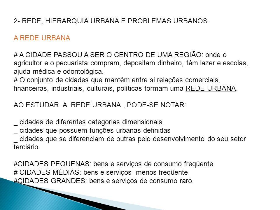 2- REDE, HIERARQUIA URBANA E PROBLEMAS URBANOS.