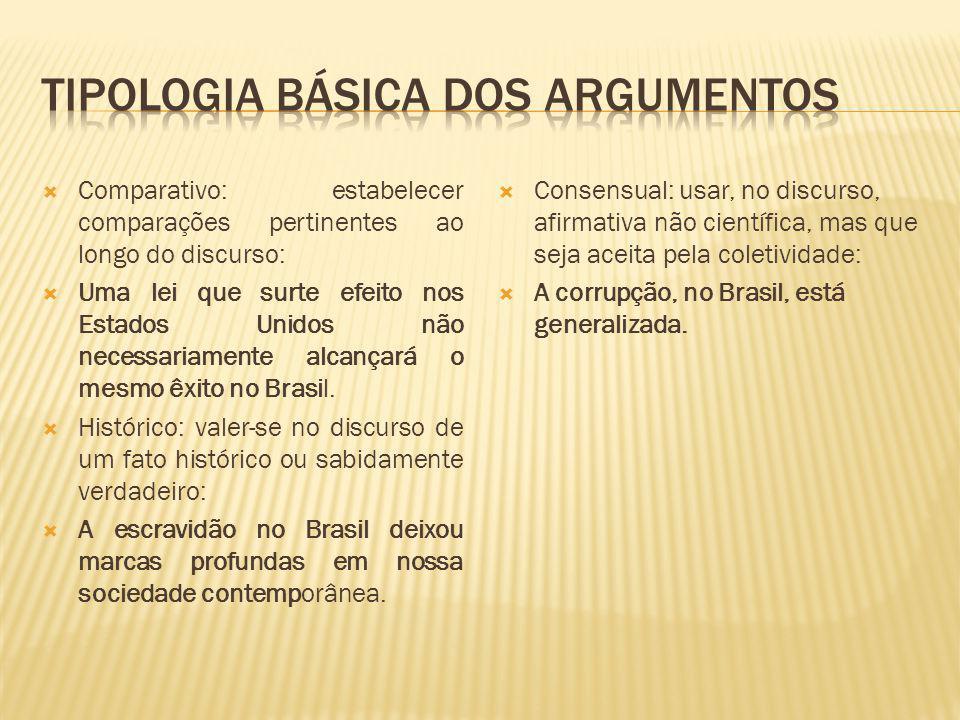 Tipologia básica dos argumentos