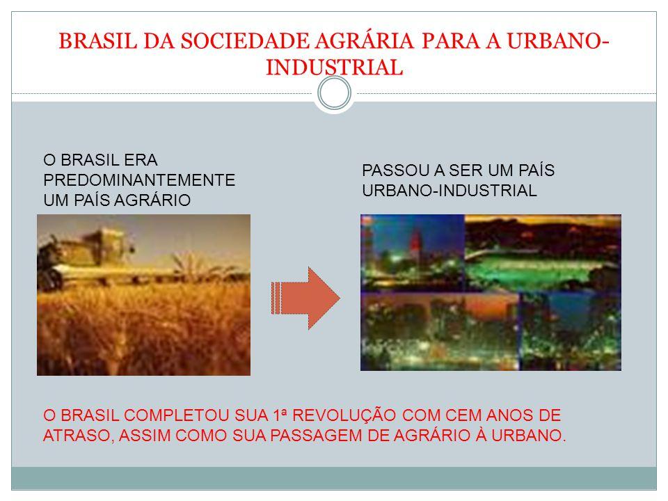 BRASIL DA SOCIEDADE AGRÁRIA PARA A URBANO-INDUSTRIAL