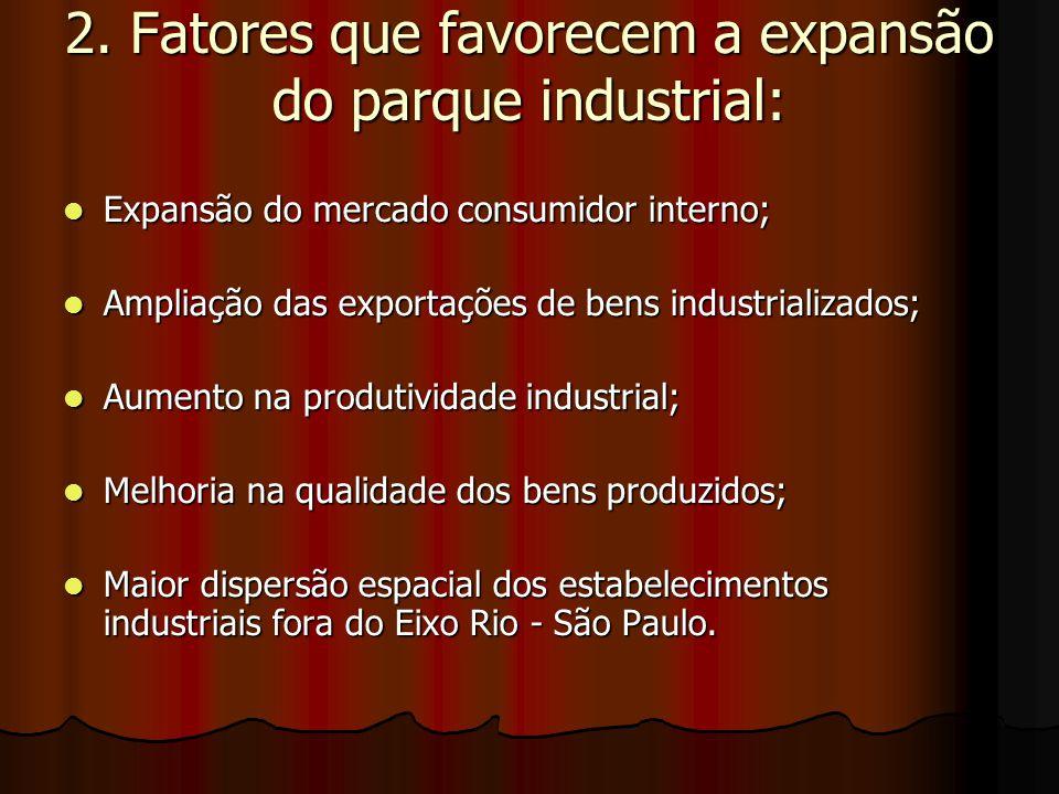 2. Fatores que favorecem a expansão do parque industrial: