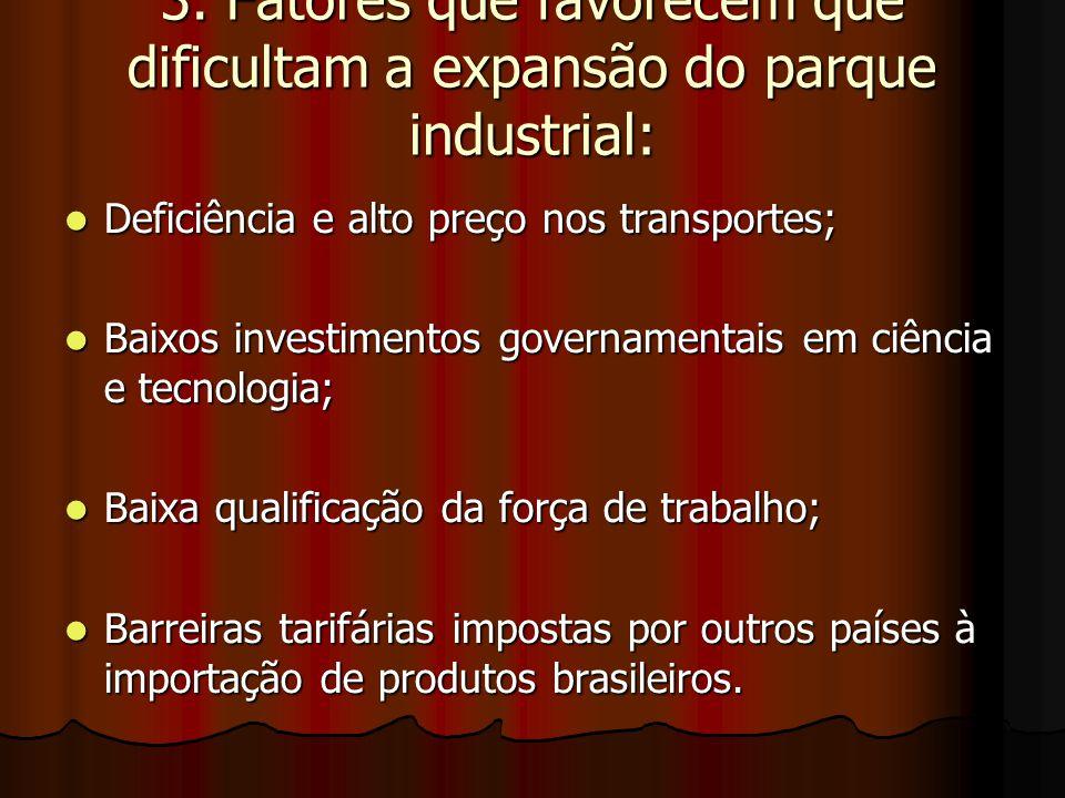3. Fatores que favorecem que dificultam a expansão do parque industrial: