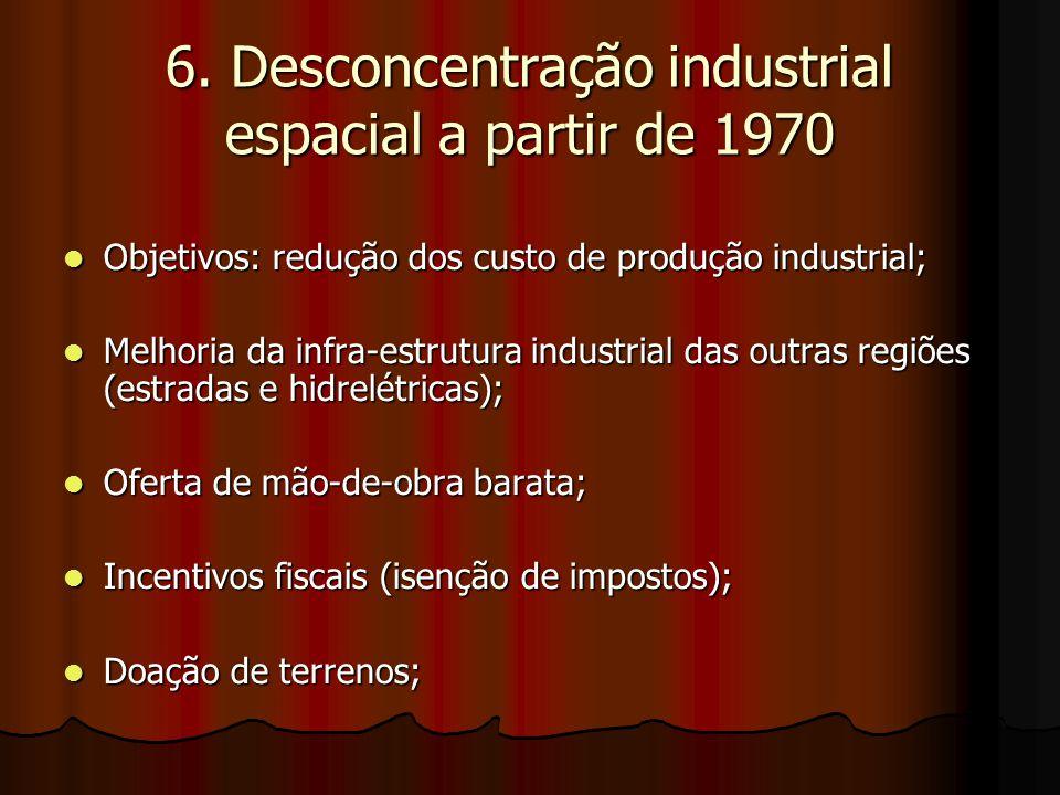 6. Desconcentração industrial espacial a partir de 1970