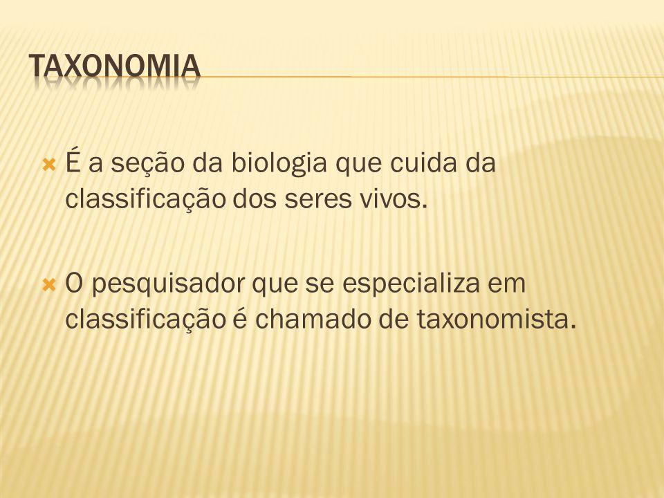 Taxonomia É a seção da biologia que cuida da classificação dos seres vivos.