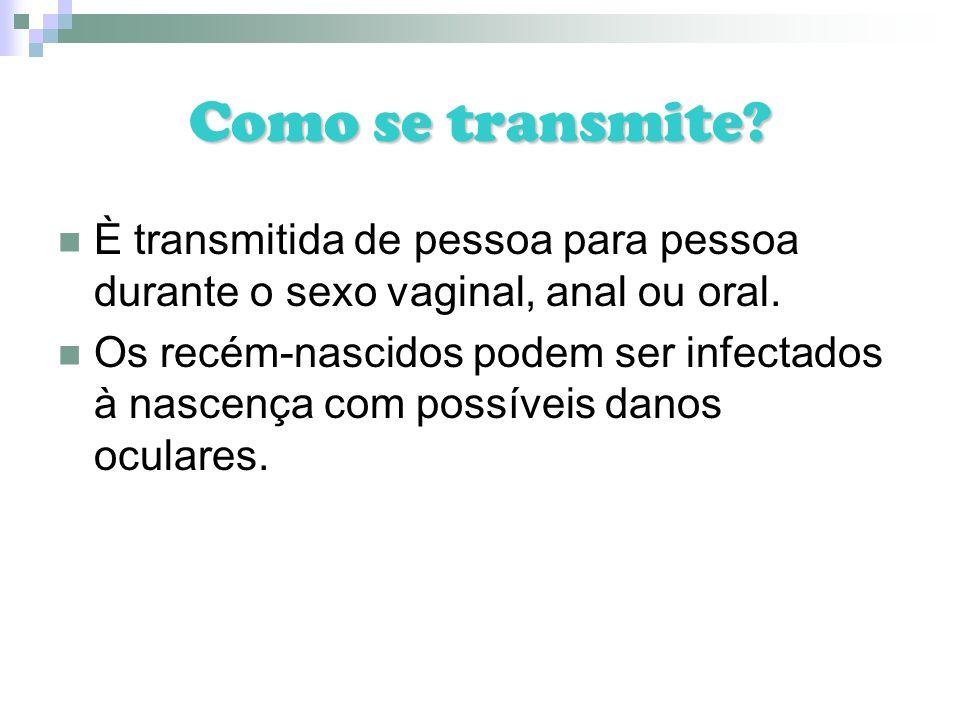 Como se transmite È transmitida de pessoa para pessoa durante o sexo vaginal, anal ou oral.