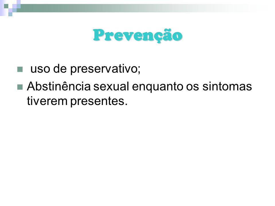 Prevenção uso de preservativo;