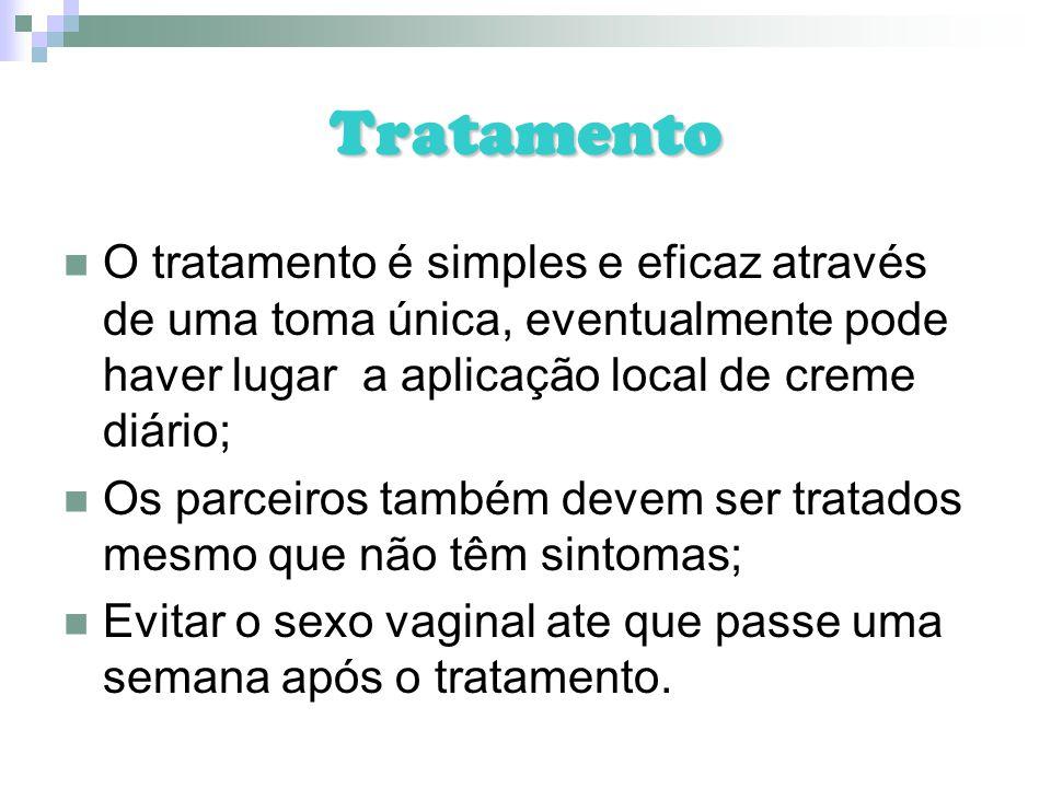 Tratamento O tratamento é simples e eficaz através de uma toma única, eventualmente pode haver lugar a aplicação local de creme diário;