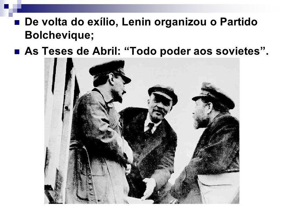 De volta do exílio, Lenin organizou o Partido Bolchevique;