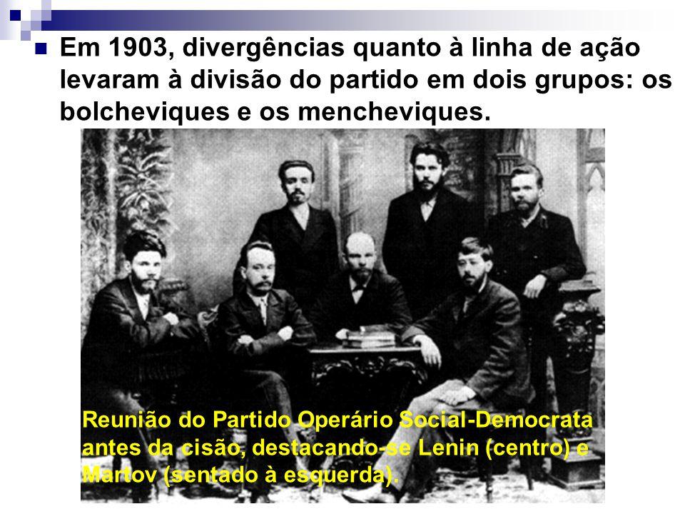 Em 1903, divergências quanto à linha de ação levaram à divisão do partido em dois grupos: os bolcheviques e os mencheviques.