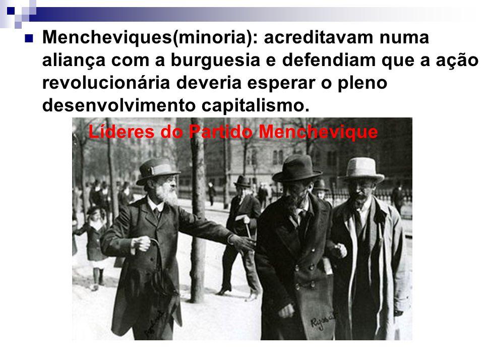 Mencheviques(minoria): acreditavam numa aliança com a burguesia e defendiam que a ação revolucionária deveria esperar o pleno desenvolvimento capitalismo.