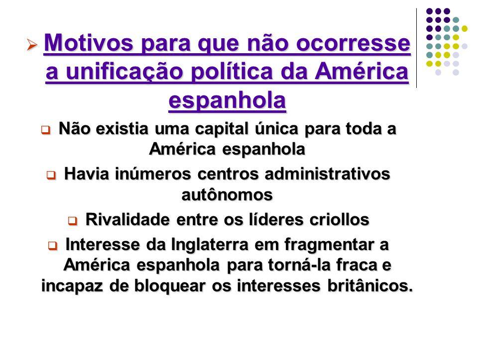 Motivos para que não ocorresse a unificação política da América espanhola
