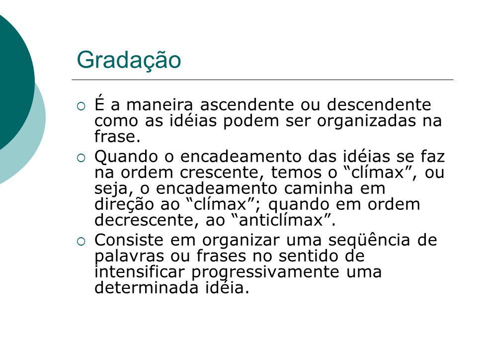 Gradação É a maneira ascendente ou descendente como as idéias podem ser organizadas na frase.