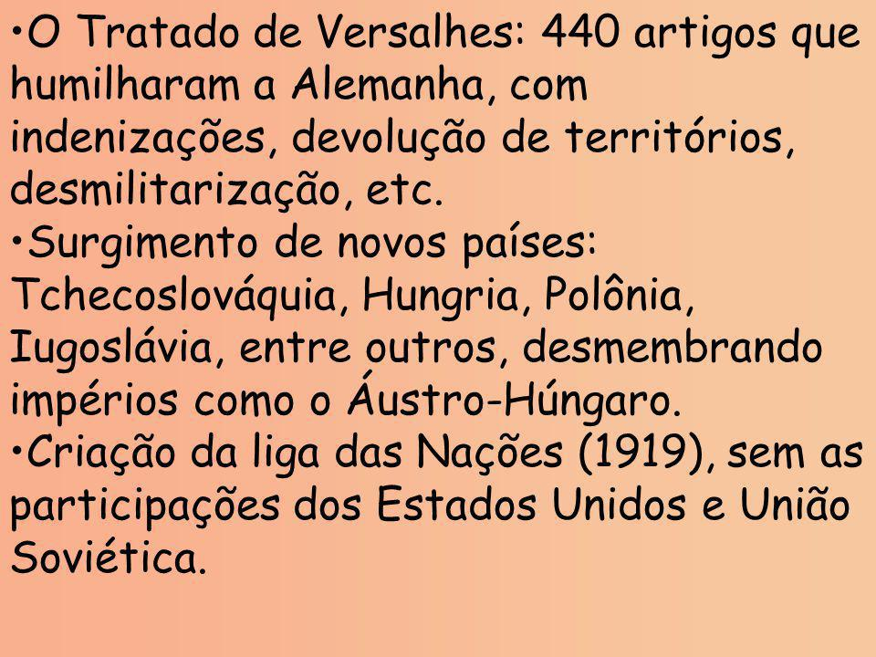 O Tratado de Versalhes: 440 artigos que humilharam a Alemanha, com indenizações, devolução de territórios, desmilitarização, etc.
