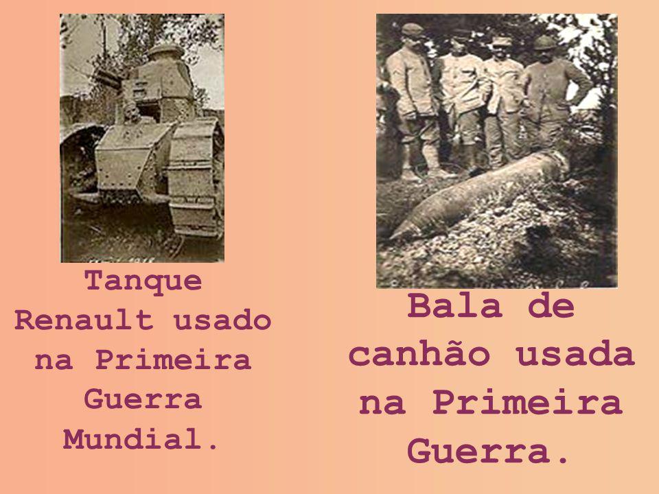 Bala de canhão usada na Primeira Guerra.
