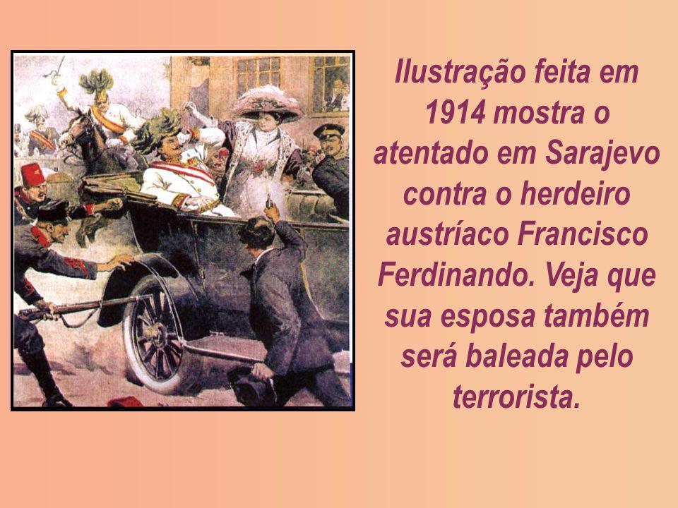 Ilustração feita em 1914 mostra o atentado em Sarajevo contra o herdeiro austríaco Francisco Ferdinando.