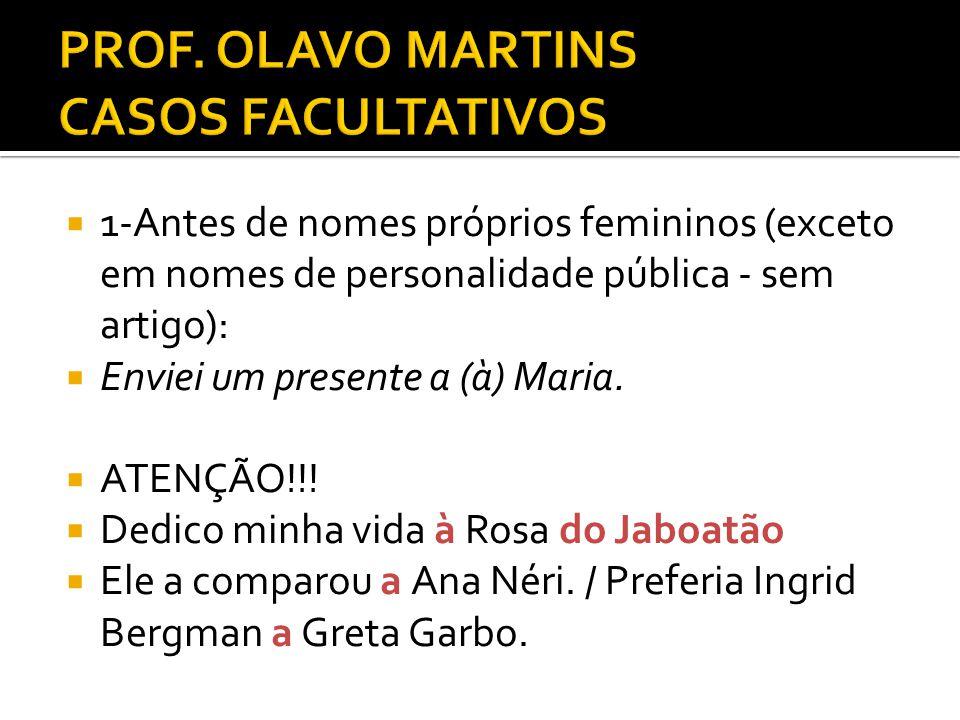 PROF. OLAVO MARTINS CASOS FACULTATIVOS