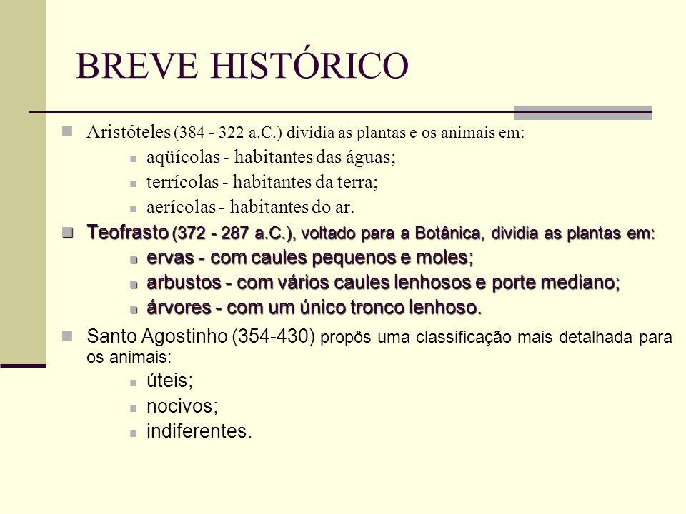 BREVE HISTÓRICO Aristóteles (384 - 322 a.C.) dividia as plantas e os animais em: aqüícolas - habitantes das águas;