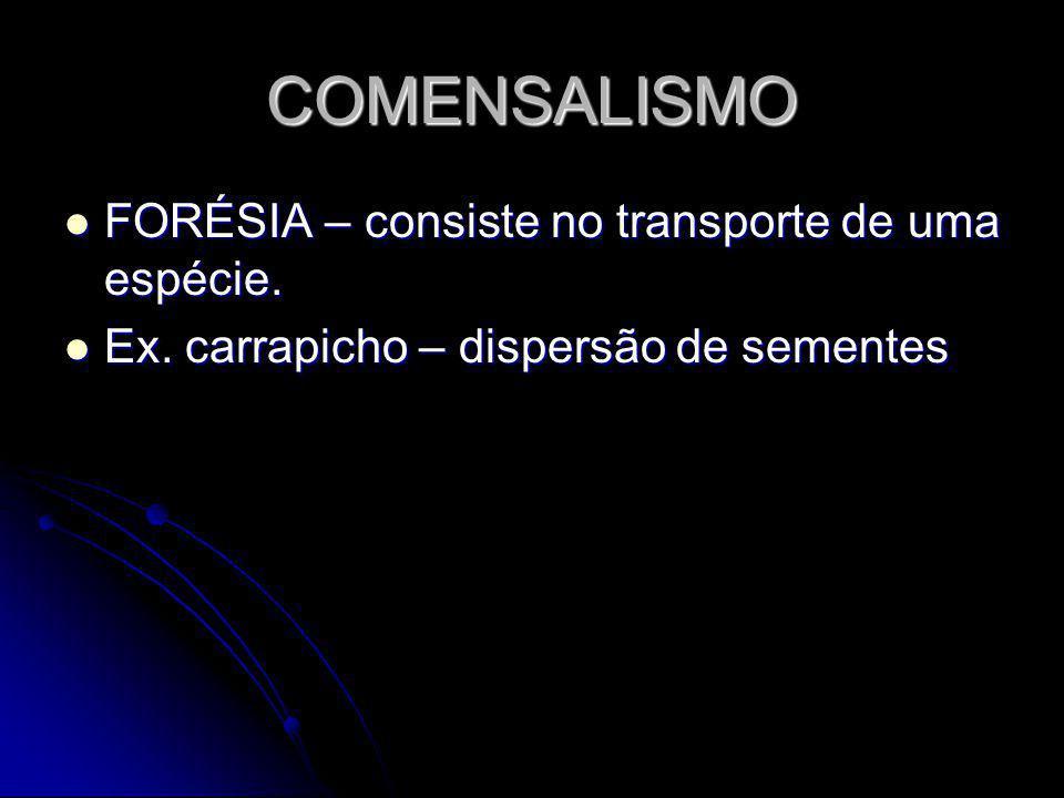 COMENSALISMO FORÉSIA – consiste no transporte de uma espécie.