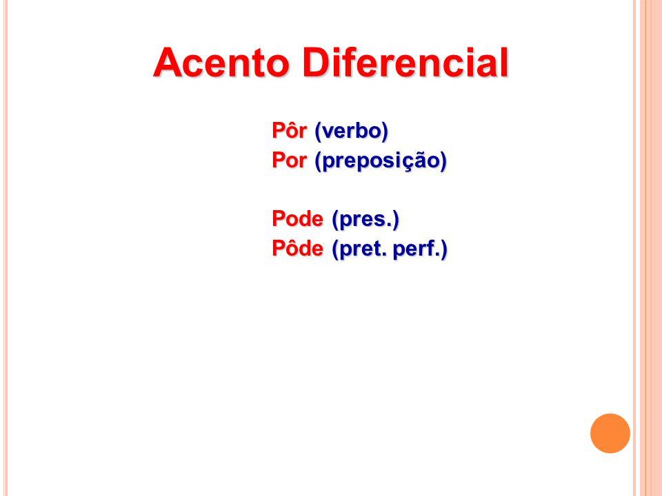 Acento Diferencial Pôr (verbo) Por (preposição) Pode (pres.)
